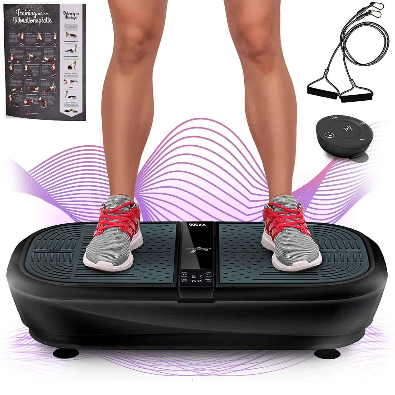 Sportstech Profi Vibrationsplatte VP300 mit 3D Wipp Vibrations Technologie,2x1000W max Motoren Leistung + Bluetooth Musik, Riesige Fläche,einmaliges Design + Trainingsbänder + Fernbedienung + Poster