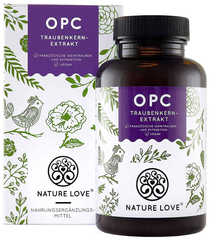 NATURE LOVE OPC Traubenkernextrakt - Premium: aus Original französischen Trauben UND Extraktion in Frankreich - 800mg Extrakt je Tagesdosis - Laborgeprüft, hochdosiert, vegan, hergest. in Deutschland