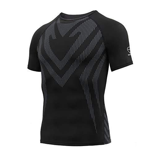 AMZSPORT Herren Kompressionsshirt Kurzarm Funktionsshirt Schnell Trocknend Sportshirt Laufshirt, Schwarz L