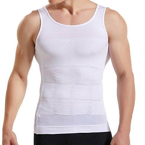 HANERDUN Kompressionsunterwäsche | Herren Tanktop | figurformendes Unterhemd für Männer | Sport Fitness | T-Shirt Bodyshaper Bauchweg,Weiß,L