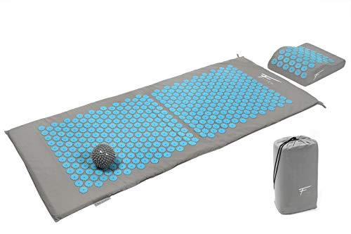 XL Akupressur-Set FITEM - Akupressurmatte + Akupressurkissen - zur Linderung von Schmerzen in Rücken und Nacken - Ischias - Rückenmassage + Muskelentspannung + Erholung nach dem Training (grau-türkis)
