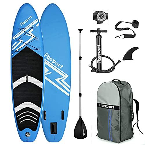 FBSPORT Aufblasbares Stand Up Paddle Board,15CM dick SUP Board Set, Stand Up Paddling Board, Surfboard inkl. Paddel, Pumpe | Größe: 320CM