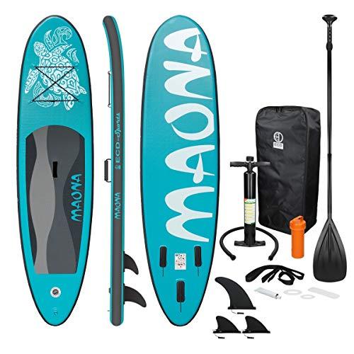 ECD Germany Aufblasbares Stand Up Paddle Board Maona | 308 x 76 x 10 cm | Türkis | PVC | bis 120kg | Pumpe Tragetasche Zubehör | SUP Board Paddling Board Paddelboard Surfboard | Verschiedene Modelle