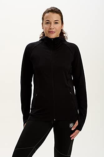 time to run Thermo-Laufjacke mit Frontreißverschluss Tasches und Kapuze für Damen XL Schwarz