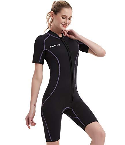 IFLOVE Damen Neoprenanzug 3 mm Ganzkörper Tauchanzug Shorty Nassanzüge Neopren Tauchen Surfen Schnorcheln