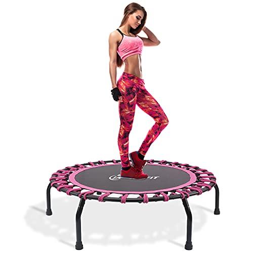 Jandecfit Fitness-Trampolin Ø ca 101cm,Leise kleines Fitness-Trampolin für Indoor-Fitness, Bungee-Seil-Design-System, Die Beste Wahl für Aerobic-Training, Nutzergewicht bis 150kg