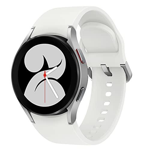 Samsung Galaxy Watch4, Runde Bluetooth Smartwatch, Wear OS, Fitnessuhr, Fitness-Tracker, 44 mm, Silver (Deutche Version)