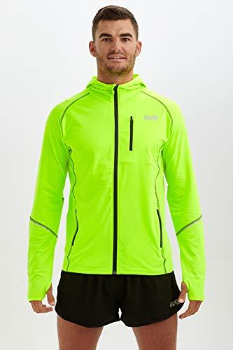time to run Thermo-Laufjacke mit Frontreißverschluss Kapuze und Taschen für Herren M Limonengrün