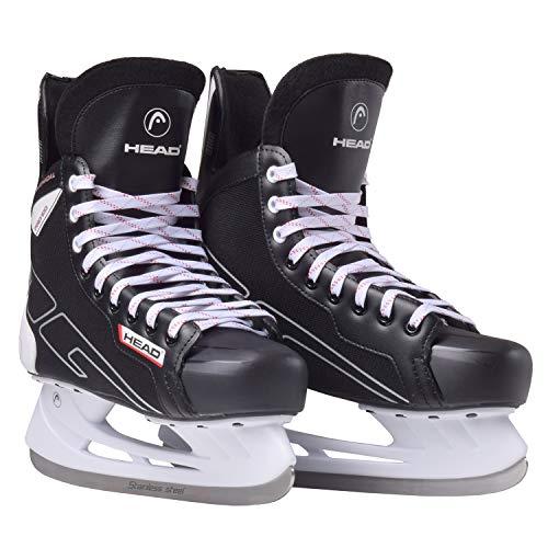 HEAD Unisex– Erwachsene Eishockey-Schlittschuh 100 I Ideal für Freizeitsspieler I Edelstahlkufen I Komfortables Laufen I leichtes Anziehen, Schwarz-Weiß, 43