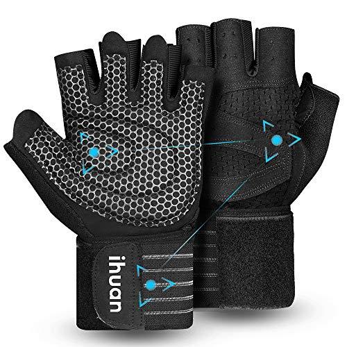 ihuan Belüftete Fitness Handschuhe mit Handgelenkband-Unterstützung für Herren und Frauen   Schwarze Trainingshandschuhe   kompletter Handflächenschutz für Gewichtheben, Training, Fitness, Klimmzüge