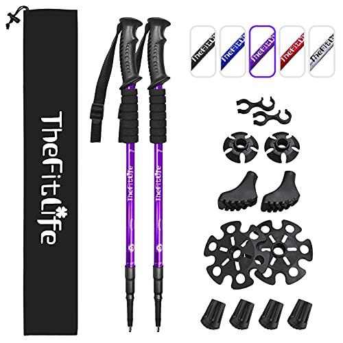 TheFitLife Walking stöcke Teleskop Trekkingstöcke - 2er Pack mit Antischock- und Schnellverschlusssystem,verstellbar,gummipuffer, Ultraleicht zum Wandern, Camping, Bergsteigen, Rucksackwandern, Gehen